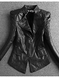 Women's Casual/Daily Sophisticated Spring Fall Leather Jacket,Solid Stand ¾ Sleeve Regular Cotton