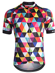 Fastcute Cycling Jersey Men's Short Sleeves Bike Jersey Tops Quick Dry Front Zipper Breathable Sweat-wicking Back Pocket 100% Polyester