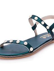 Women's Sandals Gladiator PU Spring Summer Casual Dress Gladiator Imitation Pearl Flat Heel Black Green Blushing Pink Flat