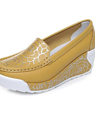 Women's Heels Spring Creepers Comfort Pigskin Leather Casual