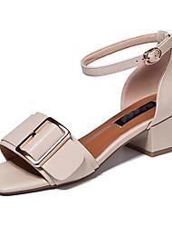 Women's Sandals Summer Comfort PU Outdoor Block Heel Buckle Ribbon Tie Black White Walking