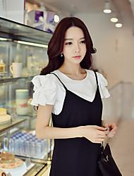 Mujer Simple Chic de Calle Sofisticado Noche Casual/Diario Vacaciones Verano Camiseta,Escote Redondo Un Color Manga Corta Algodón Licra