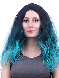 Long Body Wave Green Women Synthetic Wig Fiber Cheap Cosplay Party Hair