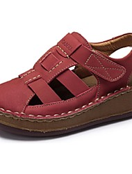 Camel Women's Sandals Summer Comfort Light Casual Flat Heel Magic Tape Shoes Color Red/Earth Yellow