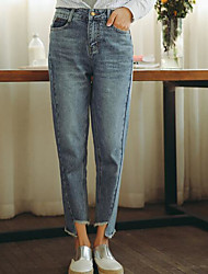 Women's Low Rise Micro-elastic Jeans Pants,Straight Solid