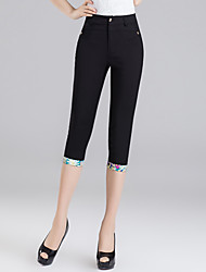 Women's High Rise Micro-elastic Chinos Pants,Slim Sequins Print