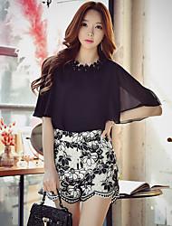 Femme Taille Haute Micro-élastique Chino Short Pantalon,Droite Mince Dentelle Maille Imprimé Blocs de Couleur