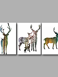 Stretched Canvas Print Three Panels Canvas Wall Decor Home Decoration Abstract Modern Animals Deers