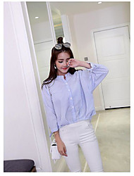 Women's Casual/Daily Simple Shirt,Striped Stand Long Sleeve Others