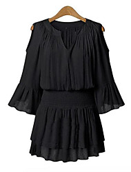 Women Casual Off Shoulder Chiffon Solid Dress Elastic Waist V Neck Dress