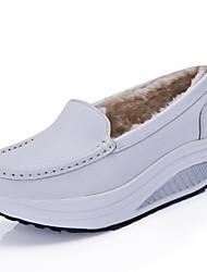 Белый Желтый Синий-Для женщин-Повседневный-Дерматин-На танкетке-Удобная обувь-Мокасины и Свитер