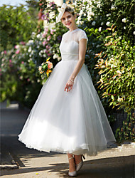A-Line Illusion Neckline Ankle Length Lace Tulle Wedding Dress with Sash / Ribbon by LAN TING BRIDE®