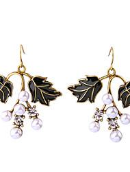 Hoop Earrings Crystal Euramerican Personalized Chrome Leaf Dark Green Black Jewelry For Housewarming Thank You Business 1 pair