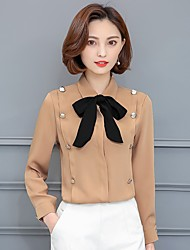 Women's Simple Blouse,Solid Shirt Collar Long Sleeve Cotton