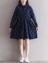 Women's Going out A Line Dress,Print Shirt Collar Knee-length Long Sleeve Cotton Summer Mid Rise Inelastic Thin