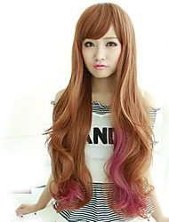 2017 Japan and South Korea fashion section long hair brown powder mixed natural song high temperature wire wig