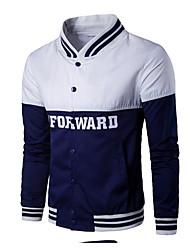Men's Simple T-shirt,Color Block Stand Long Sleeve Cotton