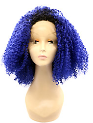 Short Lace Front Synthetic Wigs Blue Ombre Wig for Woman Heat Resistant Fiber Hair