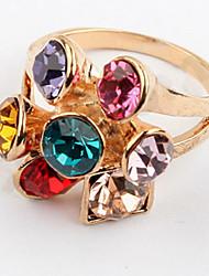 Korean Style Multicolor Gem Fashion Luxury Flower Women's Ring Movie Jewelry