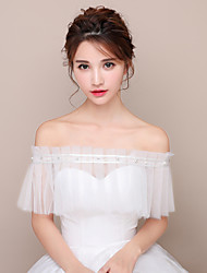 Off-shoulder Wrap Capelets Tulle Wedding Party/Evening Pearls Sashes / Ribbons Rhinestone