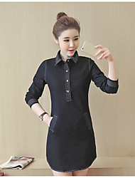 Women's Casual/Daily Simple Denim Dress,Solid Shirt Collar Above Knee Long Sleeve Polyester Spring Summer Low Rise Inelastic Thin