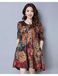 Tunique Robe Femme Décontracté / Quotidien Vintage,Fleur Col Arrondi Mi-long Manches Longues Autres Printemps Taille Normale Non Elastique