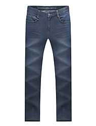 Men's Mid Rise Micro-elastic Jeans Pants,Straight Solid