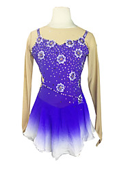 Ice Skating Dress Women's Half Sleeve Skating High Elasticity Figure Skating Dress Breathable Thermal / Warm Pearls Sequined Spandex Blue