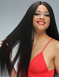Perucas retas retas do cabelo humano do laço do yaki com cabelo humano virgem brasileiro do cabelo do bebê 130 densidade barato cheio