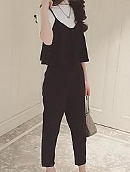 Для женщин На выход На каждый день Офис Как у футболки Брюки Костюмы Круглый вырез,просто Милые Punk & Gothic Однотонный
