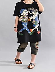 Tee-shirt Femme,Imprimé Plage Vacances Mignon Manches Courtes Col Arrondi Coton