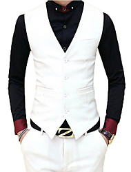 Men's Going out / Casual/Daily / Party/Cocktail Simple FallSolid V Neck Long Sleeve White / Black Cotton