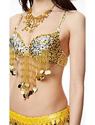 Belly Dance Tops Women's Performance Sequined Tassel(s) Paillettes 1 Piece Sleeveless High Bra
