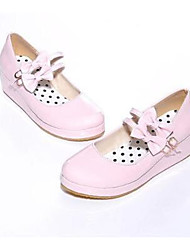 Girls' Flats Spring Fall Comfort PU Leatherette Outdoor Casual Low Heel Magic Tape Walking