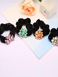 Korean Crystal Flower Flannel Hair Ring Hair Rope Ring 10pcs