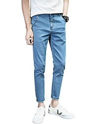 Men's Mid Rise Micro-elastic Jeans PantsSimple Slim Solid ACD-A162