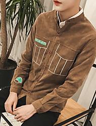 Polo Homme,Couleur Pleine Décontracté / Quotidien simple Manches Longues Col en V Cuirs Particuliers Epais