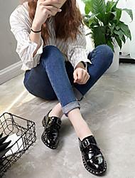 Для женщин Ботинки С Т-образной перепонкой Резина Лето Повседневные На плоской подошве Черный На плоской подошве