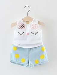 Baby Going out Casual/Daily School Solid Polka Dot Clothing Set,Dot Lace All Seasons