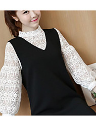 Women's Cute Blouse,Solid Round Neck Long Sleeve Cotton