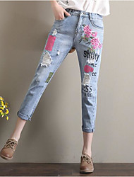 Women's Embroidery Straight Jeans Pants,Casual/Daily Simple Solid Ripped High Rise Button Polyester Inelastic Spring Fall