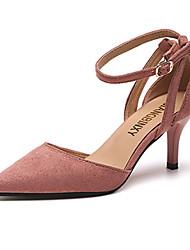 Women's Sandals Summer Comfort PU Outdoor Walking Low Heel Stiletto Heel Buckle Blushing Pink Beige Black