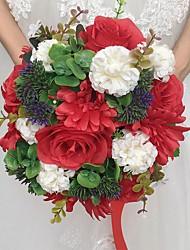 Fleurs de mariage Rond Roses Bouquets Cérémonie de mariage Satin Papier Env.28cm