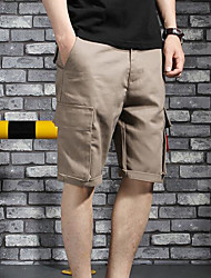 Men's Mid Rise Inelastic Shorts Pants,Simple Straight Solid