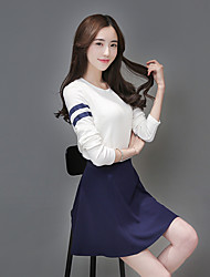 Women's Going out Sexy All Seasons Hoodie Dress Suits,Solid Off Shoulder Long Sleeve Cotton Micro-elastic