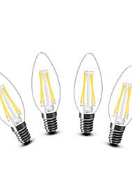 3W E14 Luces LED en Vela C35 4 COB 400 lm Blanco Cálido Decorativa AC 100-240 V 4 piezas