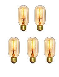 5pcs t45 z vintage edison ampoules 40w e27 chaud blanc antiquité style cage filament rétro lumières ac220-240v