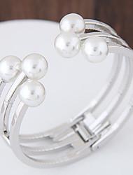 Mulheres Pulseiras Algema Moda bijuterias Imitação de Pérola Liga Forma Redonda Jóias Para Festa Aniversário