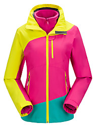 Women's 3-in-1 Jackets Waterproof Breathable Thermal / Warm Windproof Fleece Lining