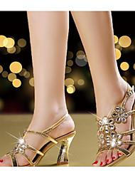 Damen-High Heels-Lässig-PU-Blockabsatz-Komfort Club-Schuhe-Gold Purpur